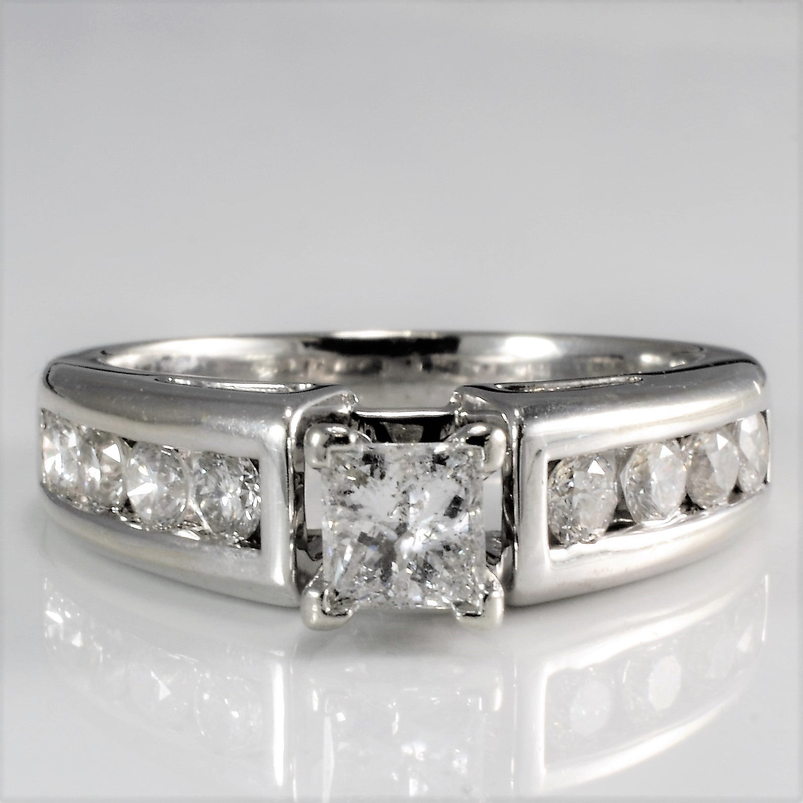Princess Diamond With Channel Accent Engagement Ring | 0.90 ctw, SZ 6 |
