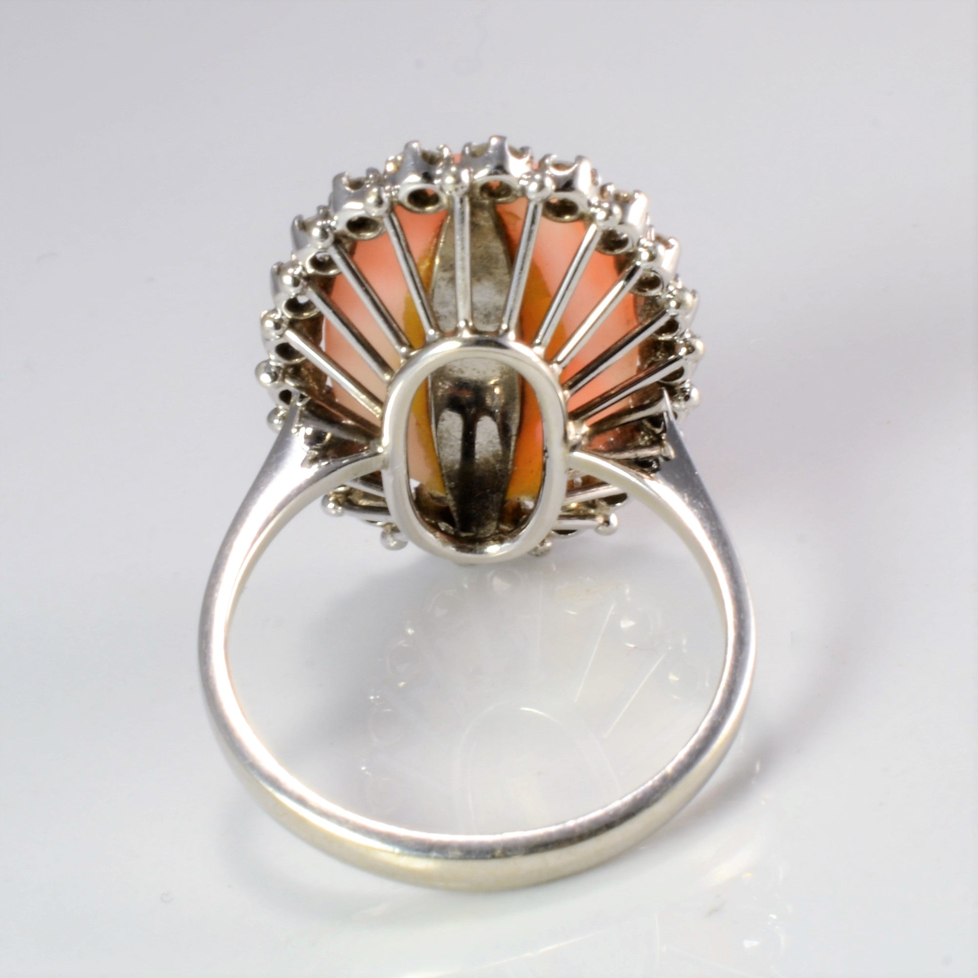 Coral & Diamond Ladies Cocktail Ring | 0.65 ctw, SZ 7.75 |