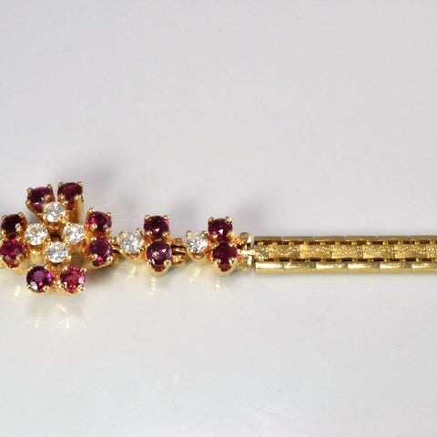 Prong Set Ruby & Diamond Ladies Chain Bracelet | 0.40 ctw |