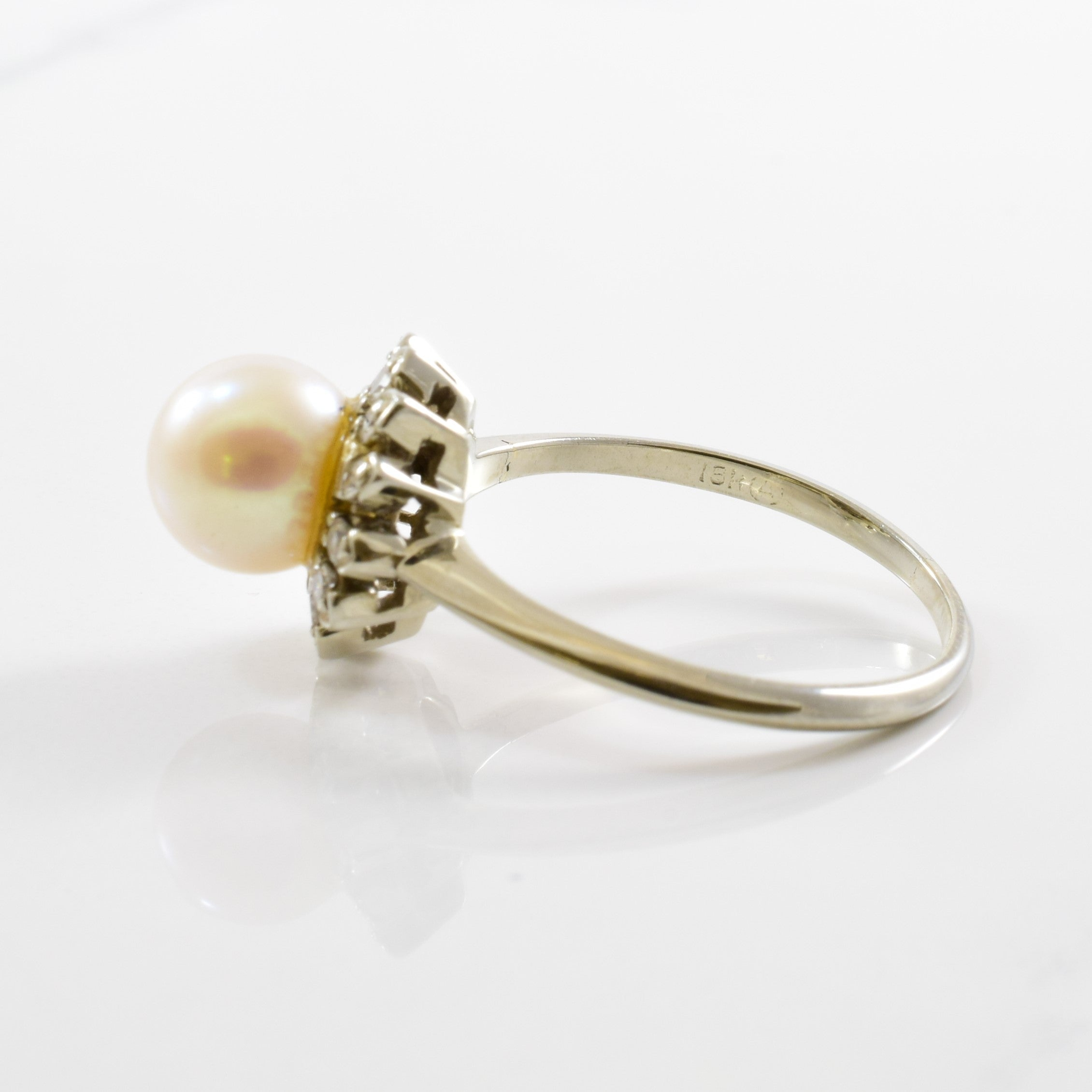 Retro Era Pearl & Diamond Halo Ring | 0.18 ctw | SZ 7.5 |