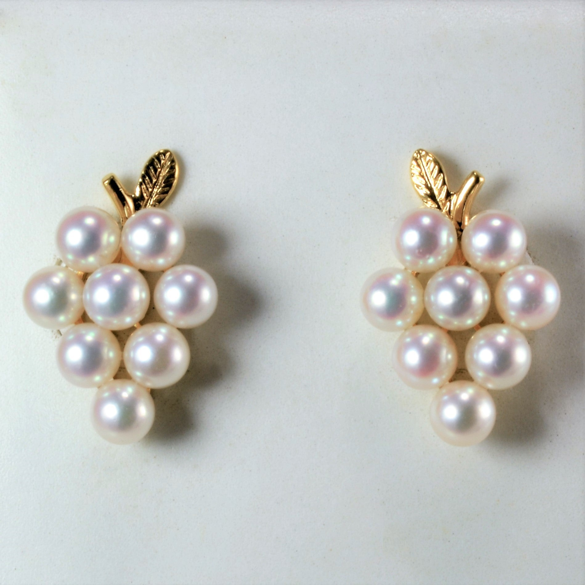 Multi- Pearl Bunch of Grapes Gold Earrings