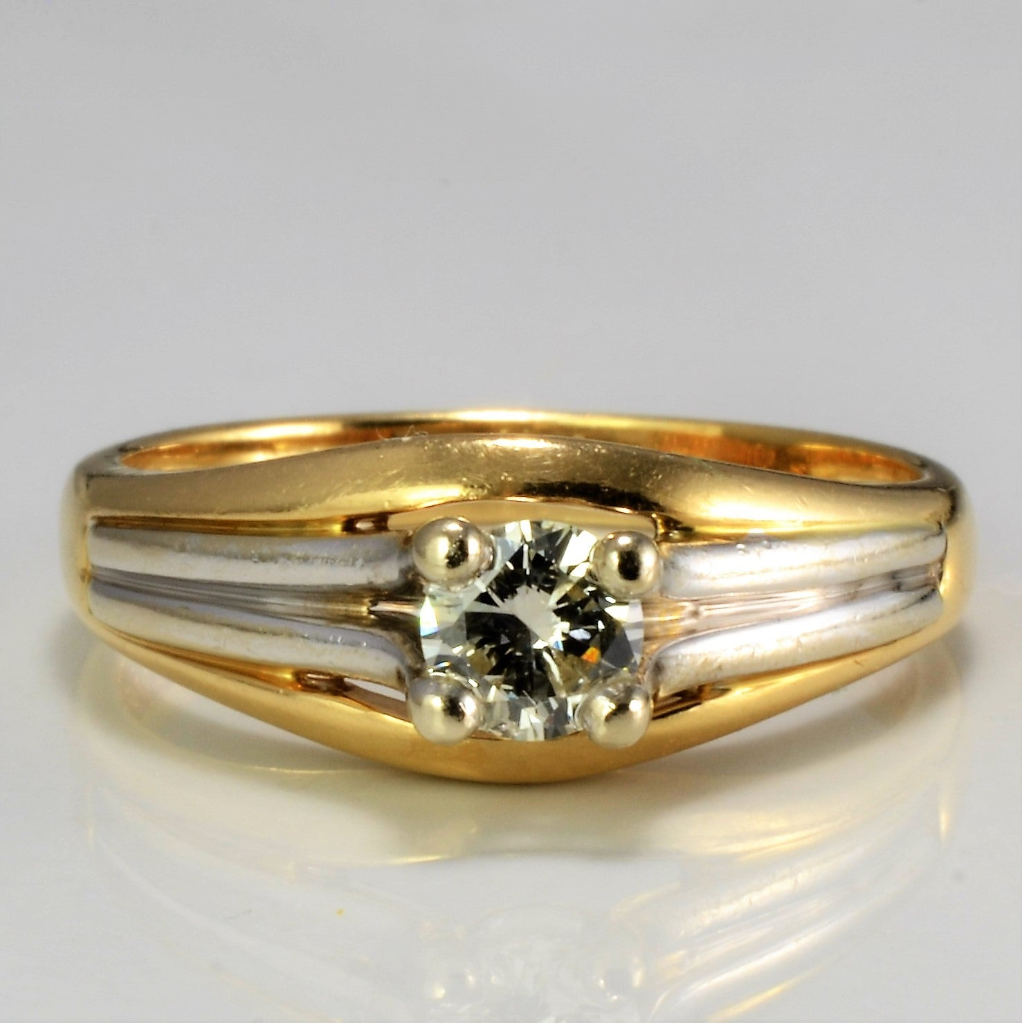 Two Tone Gold Solitaire Diamond Ring | 0.28 ct, SZ 6.5 |