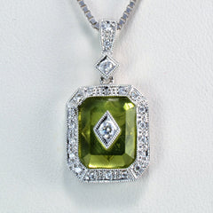 Peridot & Diamond Pendant Necklace | 0.15 ctw, 18''|