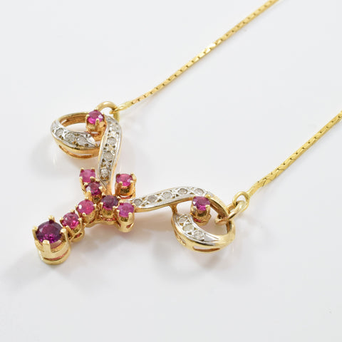 Ruby & Diamond Drop Necklace | 0.20ctw, 1.00ctw | 17"