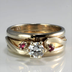 Triple Band Diamond & Ruby Wide Ring | 0.30 ctw, SZ 4 |