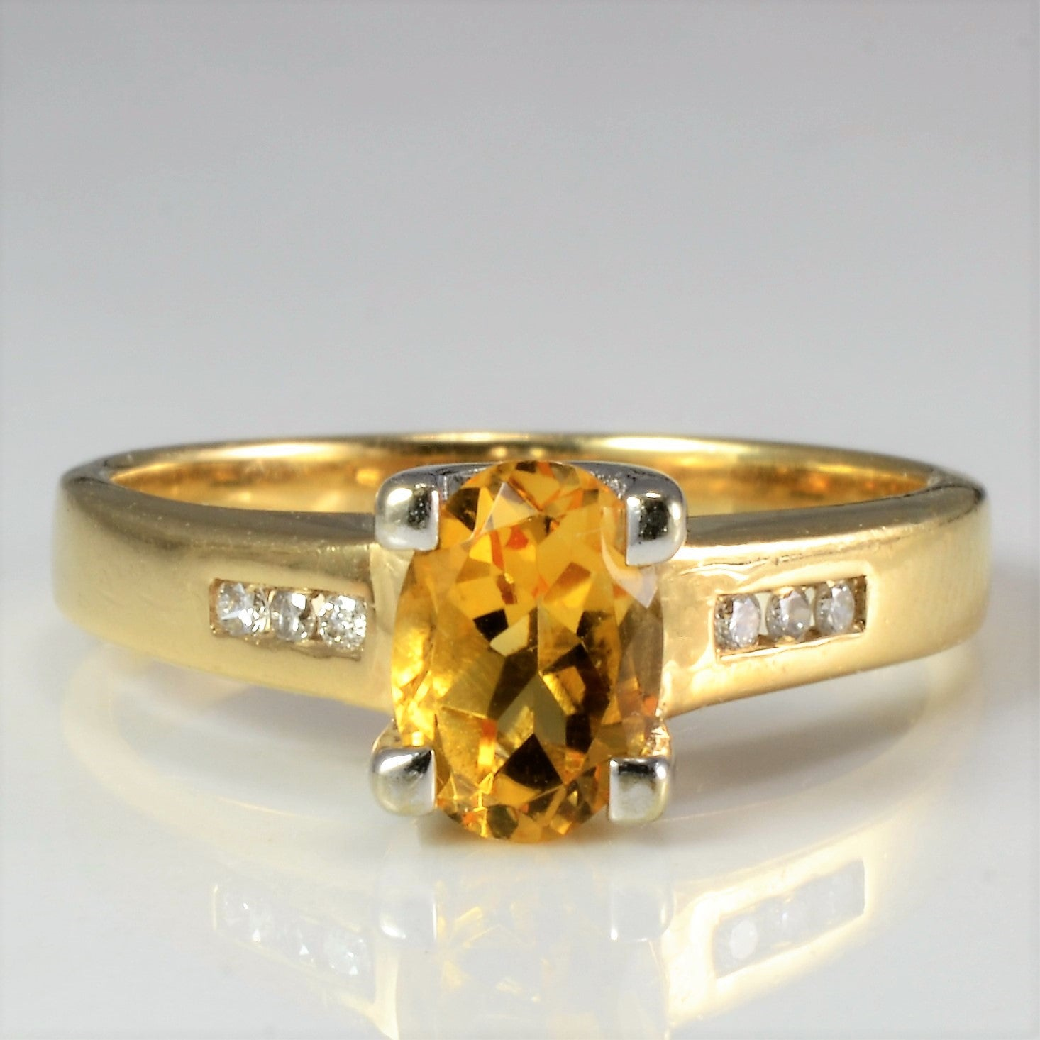 Solitaire Citrine & Accents Diamond Ring | 0.03 ctw, SZ 5.75 |