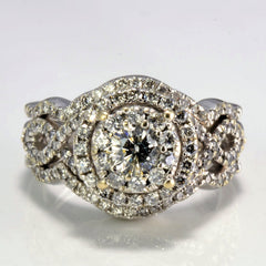 Soldered Halo Style Diamond Engagement Ring | 0.89 ctw, SZ 6 |
