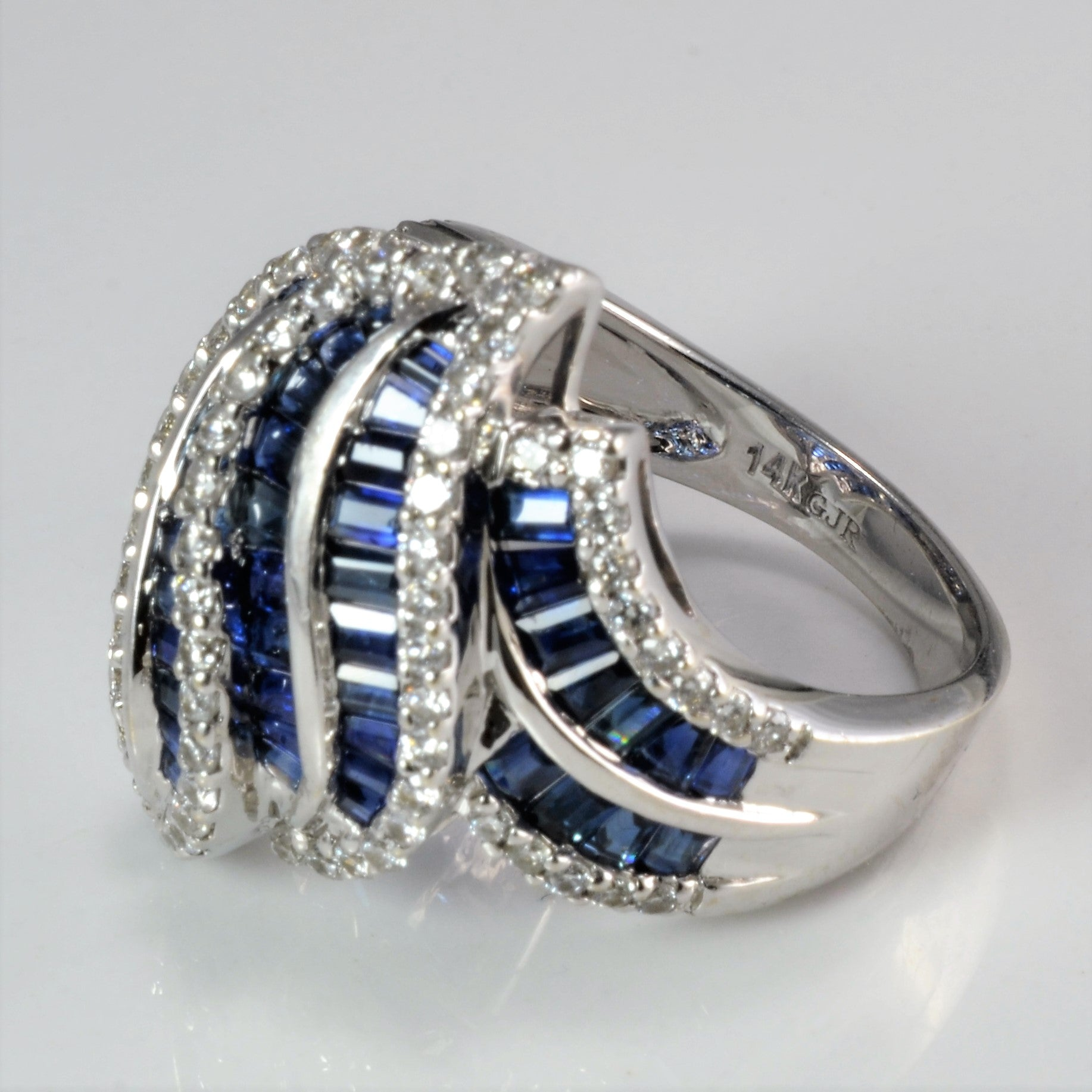 Pave Diamond & Sapphire Ladies Dome Ring | 0.70 ctw, SZ 7.25 |