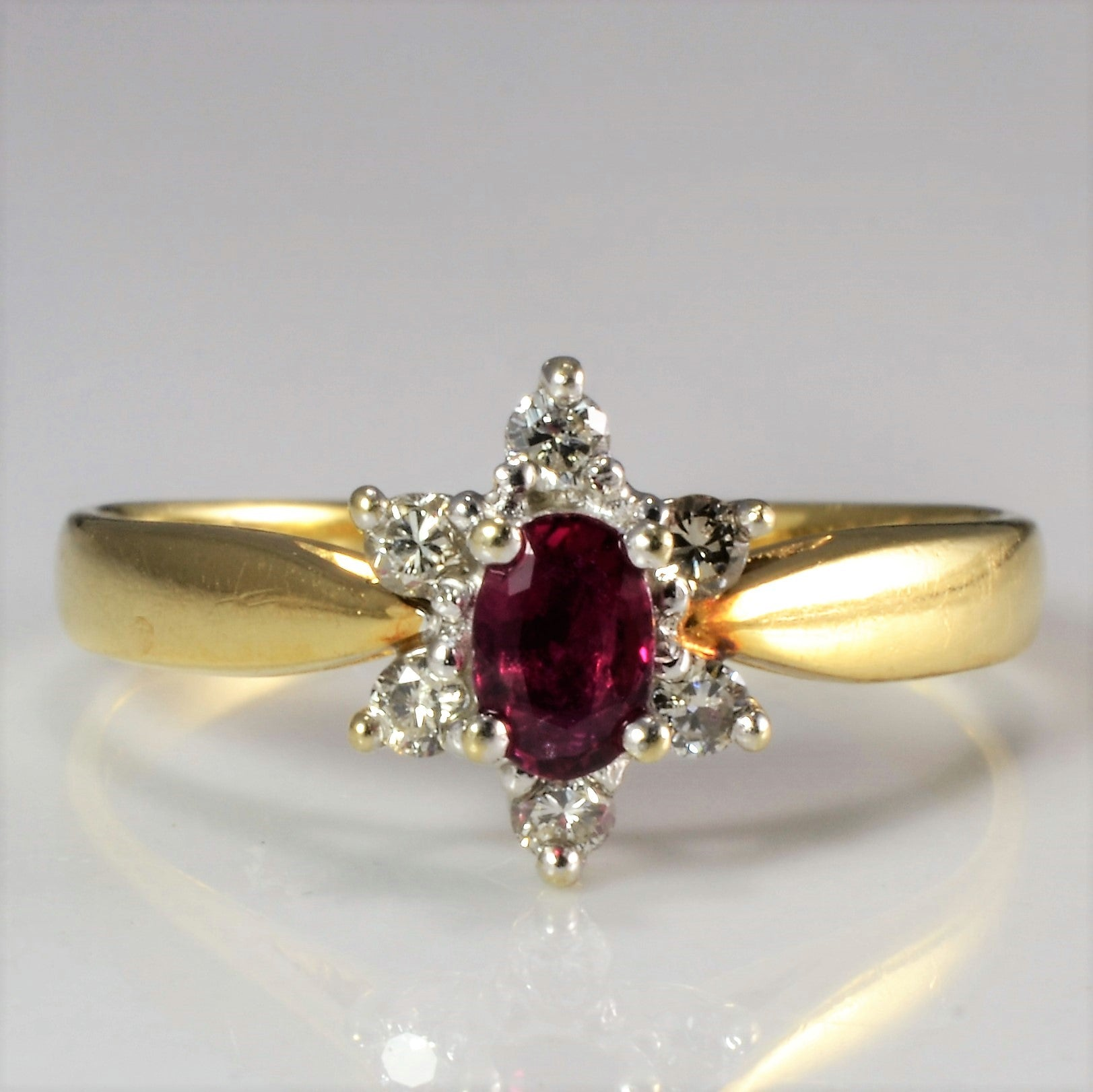 Cocktail Ruby & Diamond Ring | 0.09 ctw, SZ 4.5 |