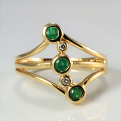 Bezel Set Five Stone Emerald & Diamond Ring | 0.04 ctw, SZ 6 |
