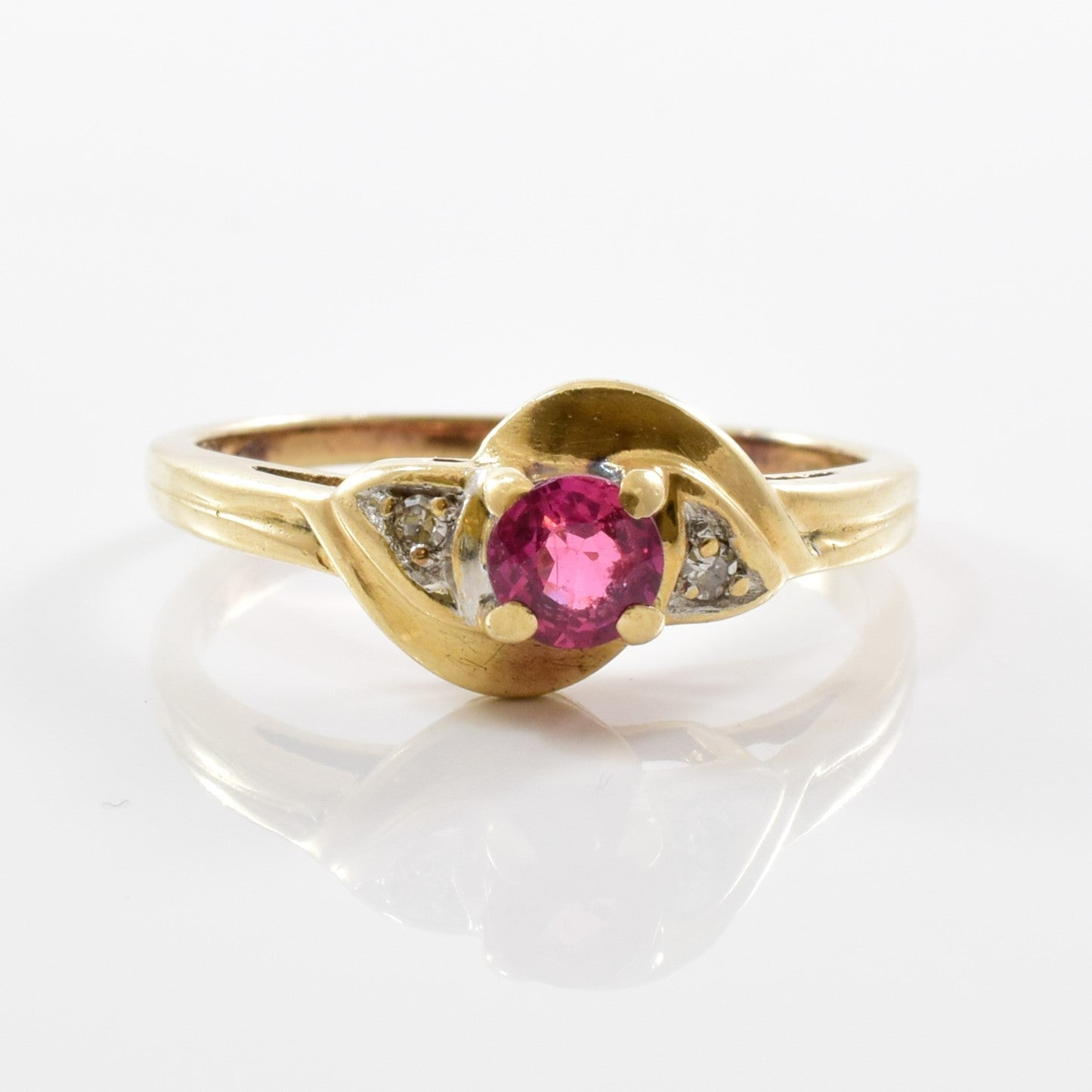 Ruby & Diamond Bypass Ring | 0.02ctw, 0.30ct | SZ 6.25 |