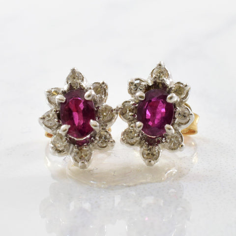 Ruby & Diamond Halo Stud Earrings | 0.16ctw, 0.40ctw |