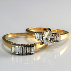 Yellow Gold Pear & Baguette Diamond Wedding Ring Set | 1.21 ctw, SZ 9 |