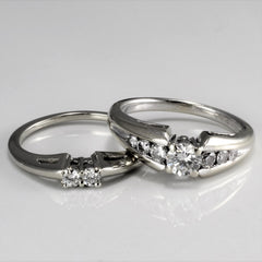 Butterfly Styled Ring & Two Stone Wedding Band  | 0.60 ctw, SZ 5.75 |