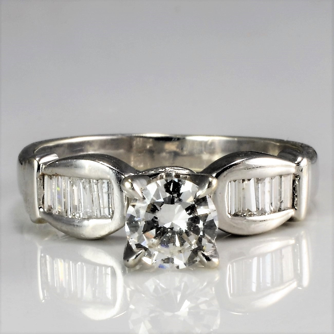High Prong Set Solitaire Diamond & Accents Engagement Ring | 0.70 ctw, SZ 6 |