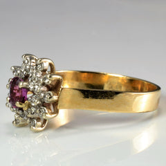 Cocktail Ruby & Diamond Ring | 0.07 ctw, SZ 8.25 |