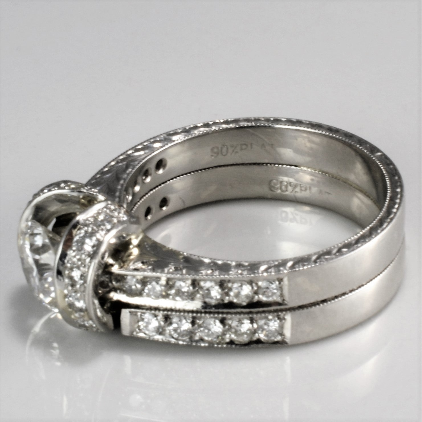 Platinum Milgrain Edge Soldered Wedding Set | 1.45 ctw, SZ 6 |