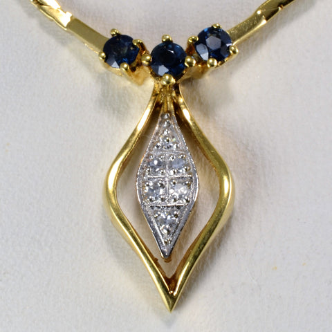 Sapphire & Diamond Ladies Necklace | 0.03 ctw, 16''|