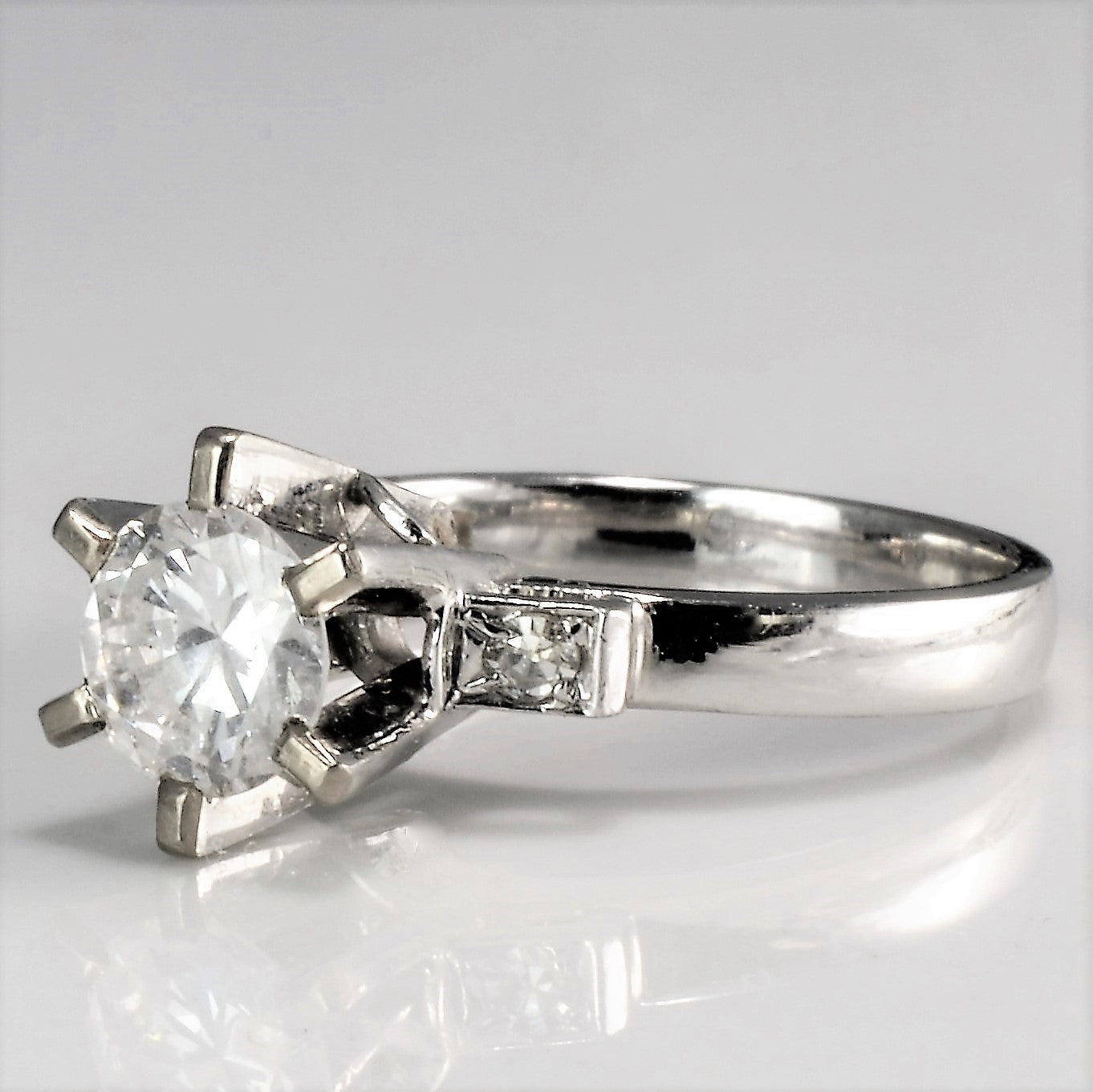 Retro Era High Basket Set Engagement Ring | 0.66 ctw, SZ 3.5 |
