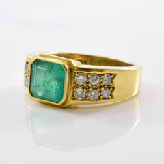 Bezel Set Emerald & Diamond Ring | 0.36 ctw SZ 5.5 |