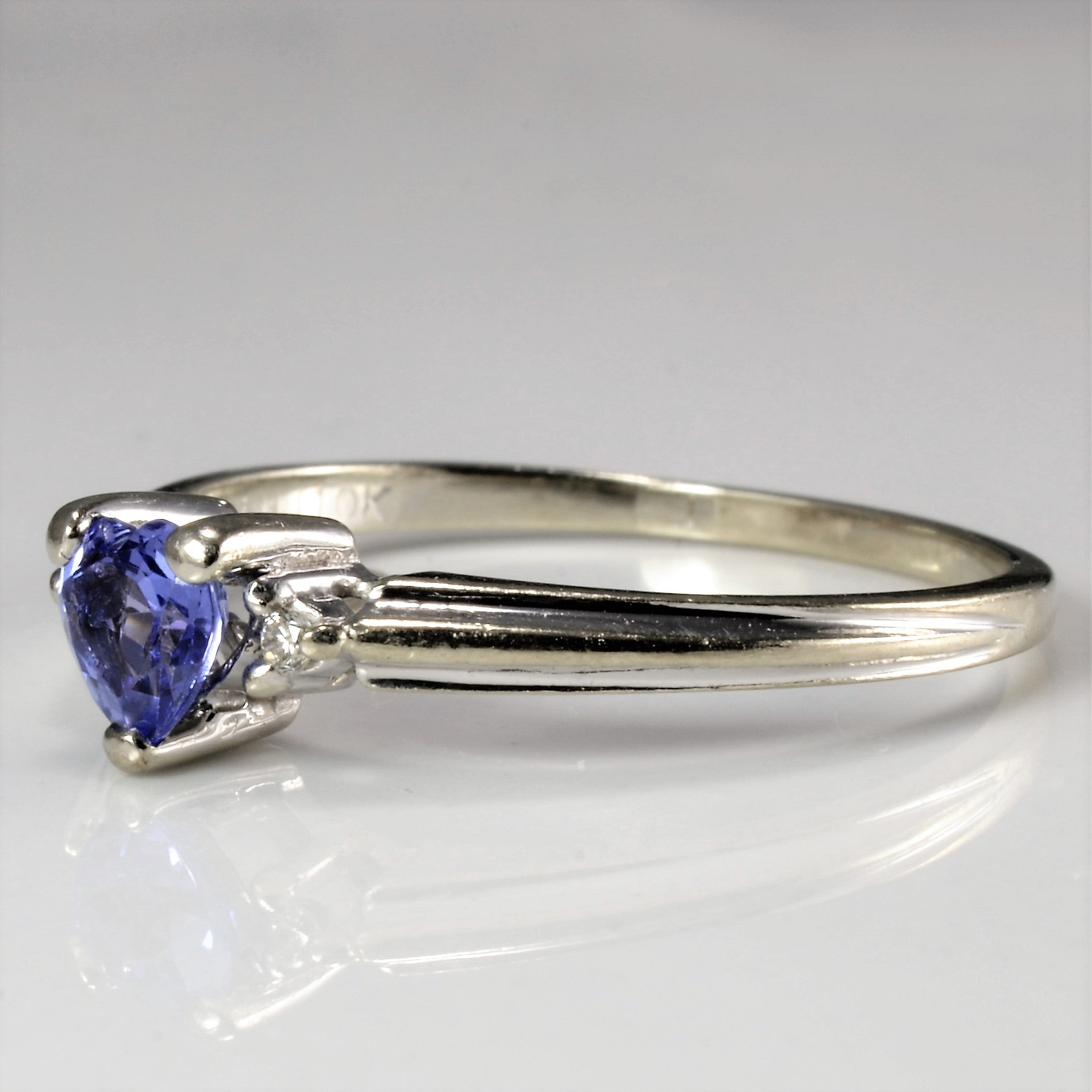 Three Stone Tanzanite & Diamond Promise Ring | 0.02 ctw, SZ 8.75 |