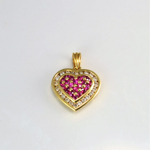 Cluster Set Ruby & Diamond Heart Pendant | 0.28 ctw |