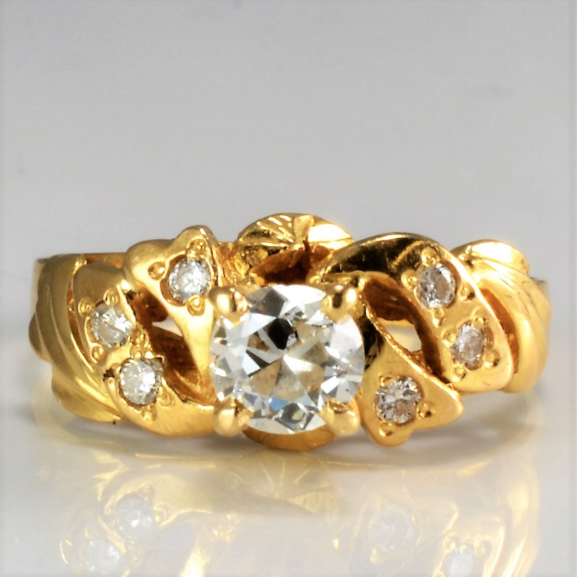 Floral Inspired High Set Diamond Engagement Ring | 0.40 ctw, SZ 5.25 |