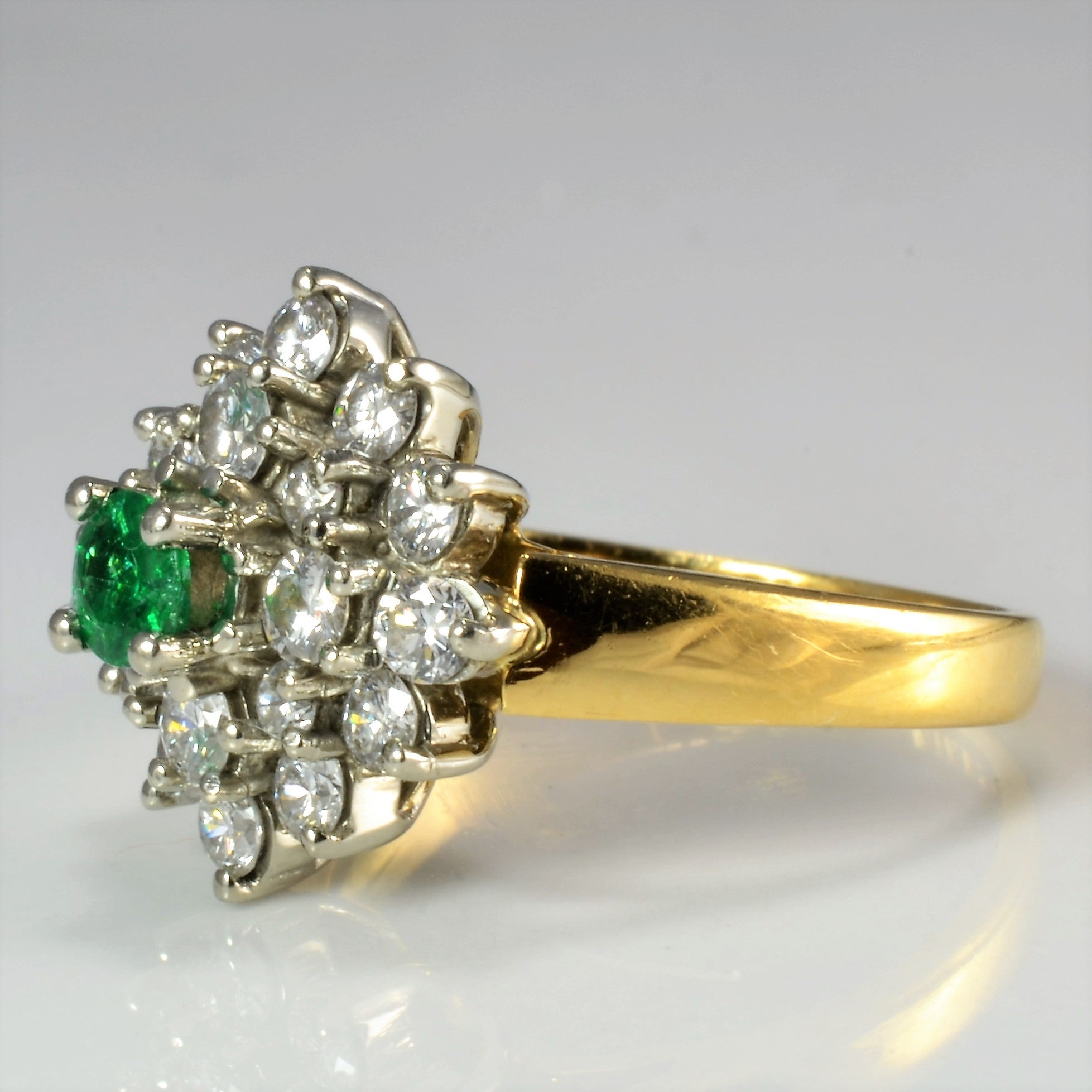 BIRKS Cluster Diamond & Emerald Ladies Ring | 0.64 ctw, SZ 5 |