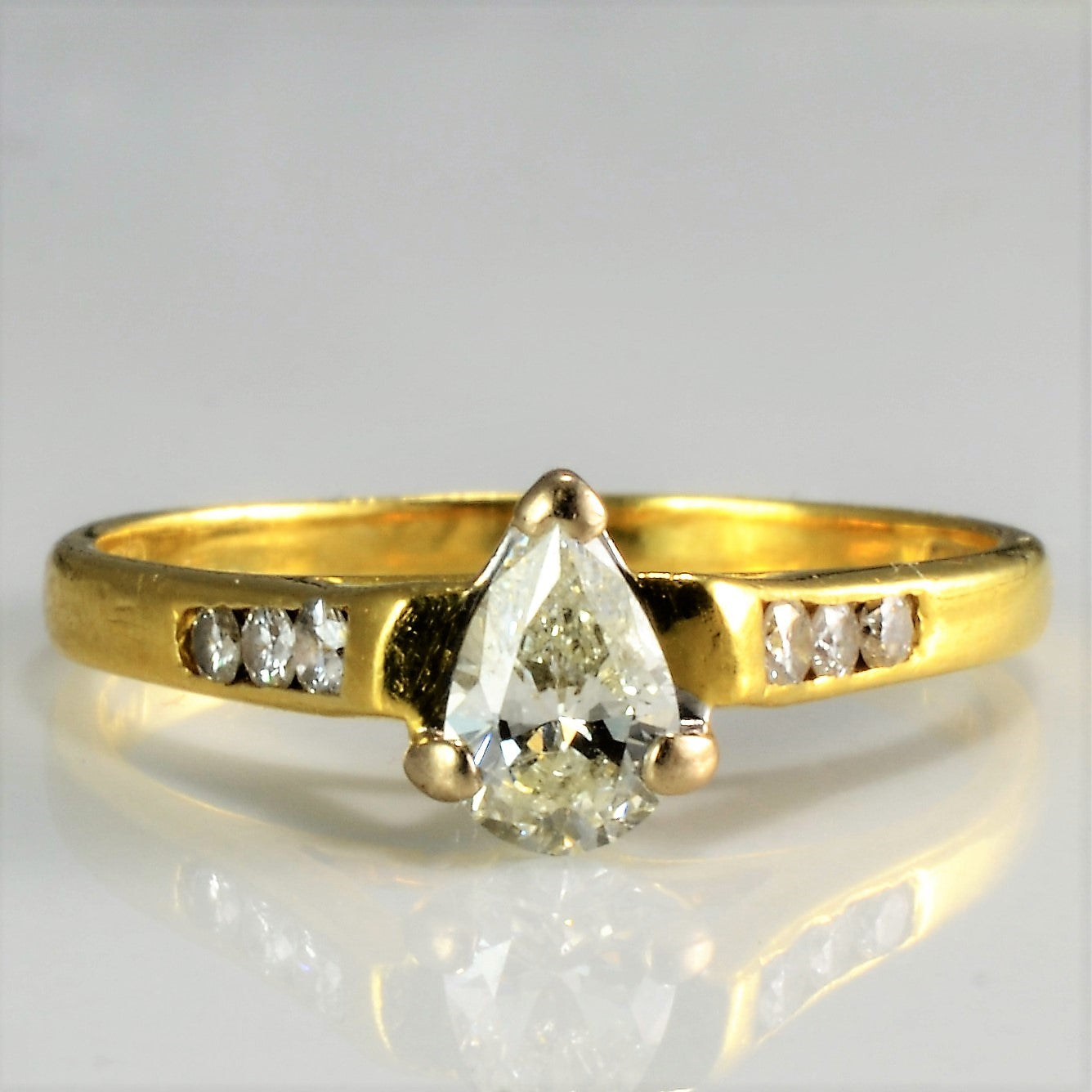 Solitaire Pear Diamond & Accents Engagement Ring | 0.50 ctw, SZ 6 |