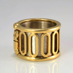 CARTIER Textured Two- Tone Gold Wide Ring | SZ 5 |