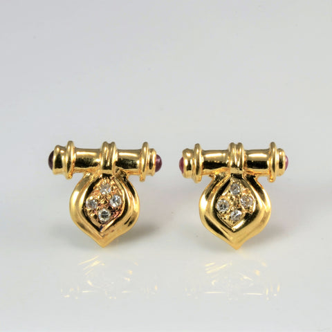 Diamond & Ruby Ladies Earrings | 0.06 ctw |