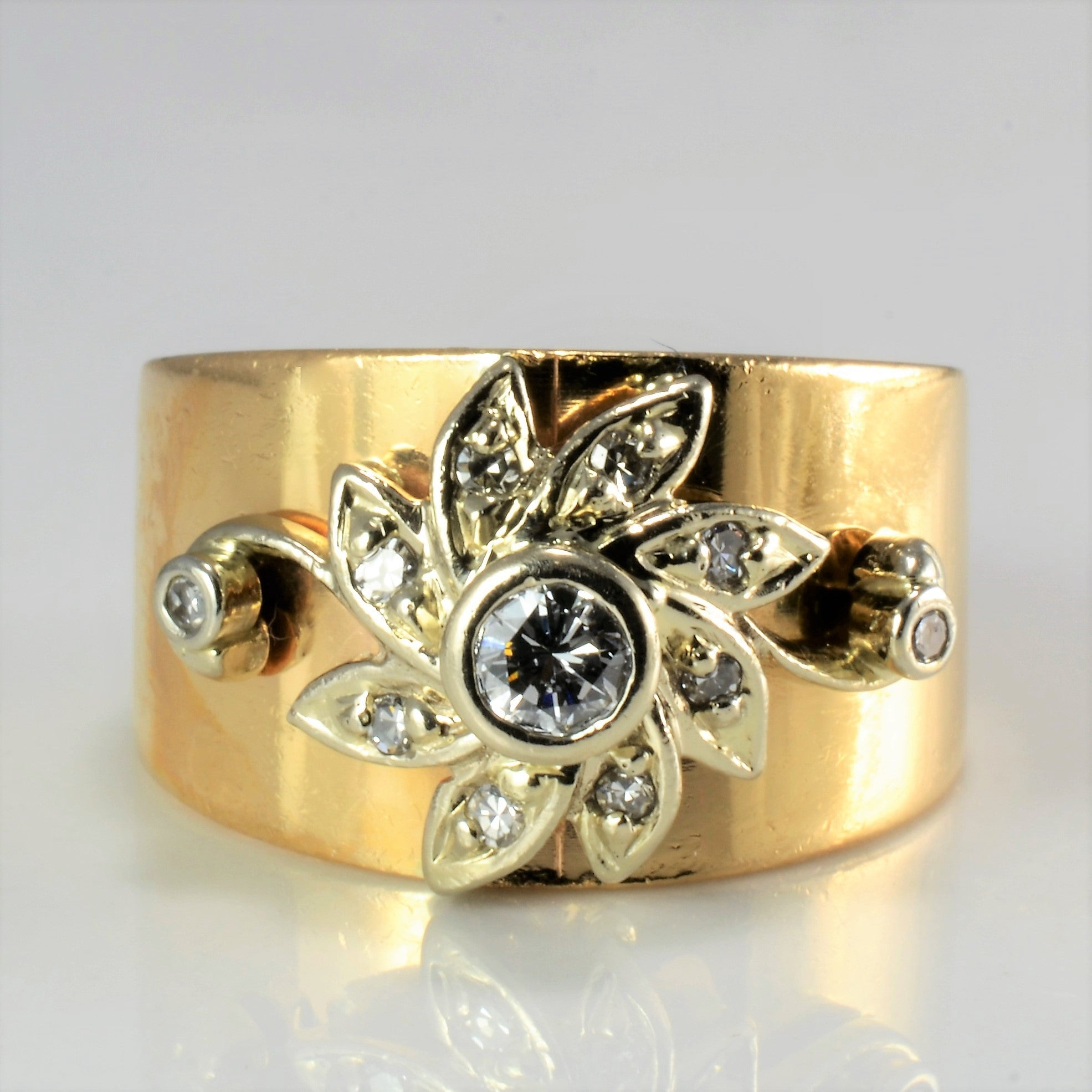 Vintage Floral Inspire Diamond Wide Ring | 0.27 ctw, SZ 7.5 |
