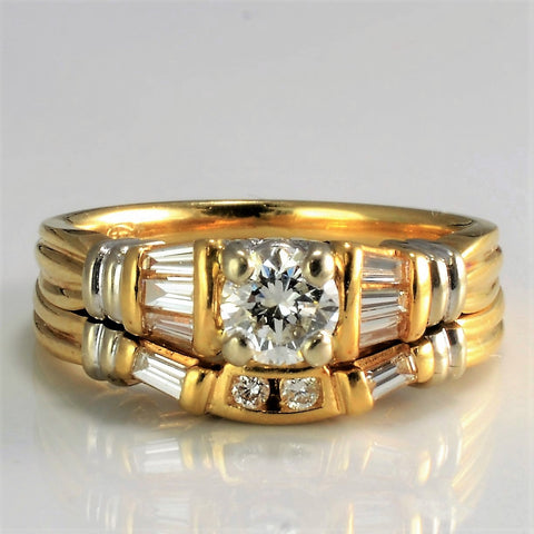 14K Gold Diamond Wedding Ring Set | 0.56 ctw, SZ 5 |