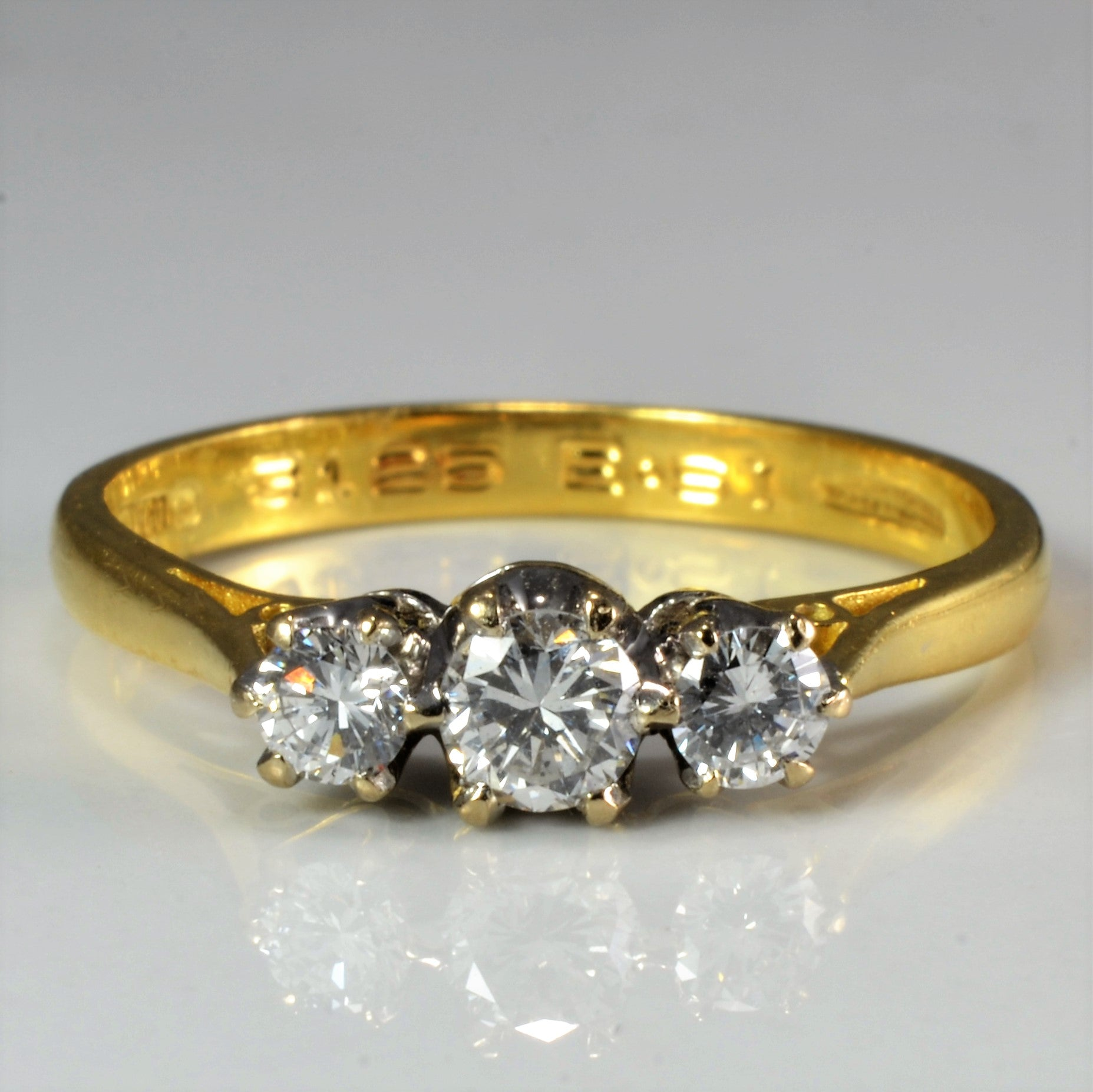 Three Stone Diamond Engagement Ring | 0.37 ctw, SZ 6.75 |