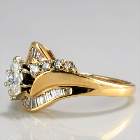 Multi-Diamond Ladies Chevron Ring | 0.75 ctw, SZ 6 |