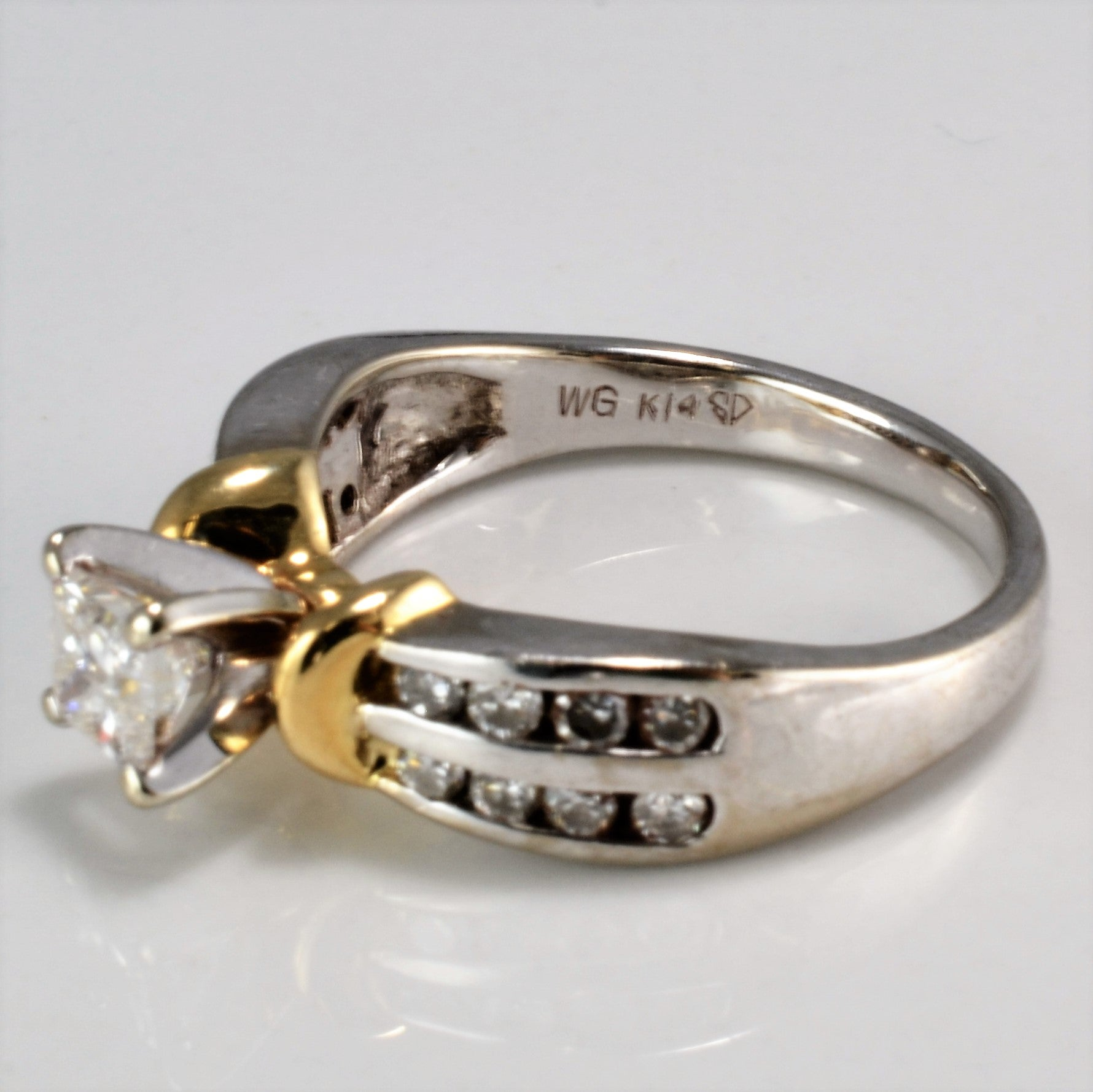 Offset Princess & Round Accents Diamond Engagement Ring | 0.64 ctw, SZ 6.75 |