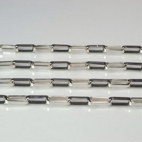 'Birks' Elongated White Gold Box Chain | 17"