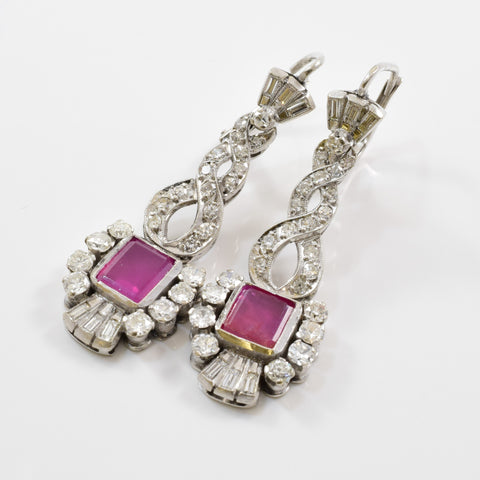 Art Deco Ruby & Diamond Drop Earrings | 1.20ctw, 1.50ctw |