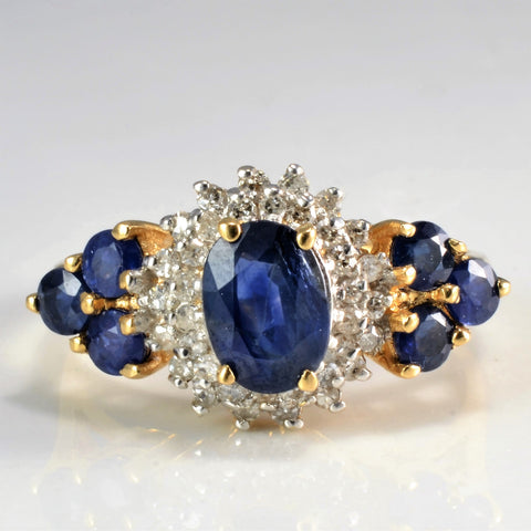 High Set Sapphire & Diamond Ladies Cocktail Ring | 0.15 ctw, SZ 7.75 |
