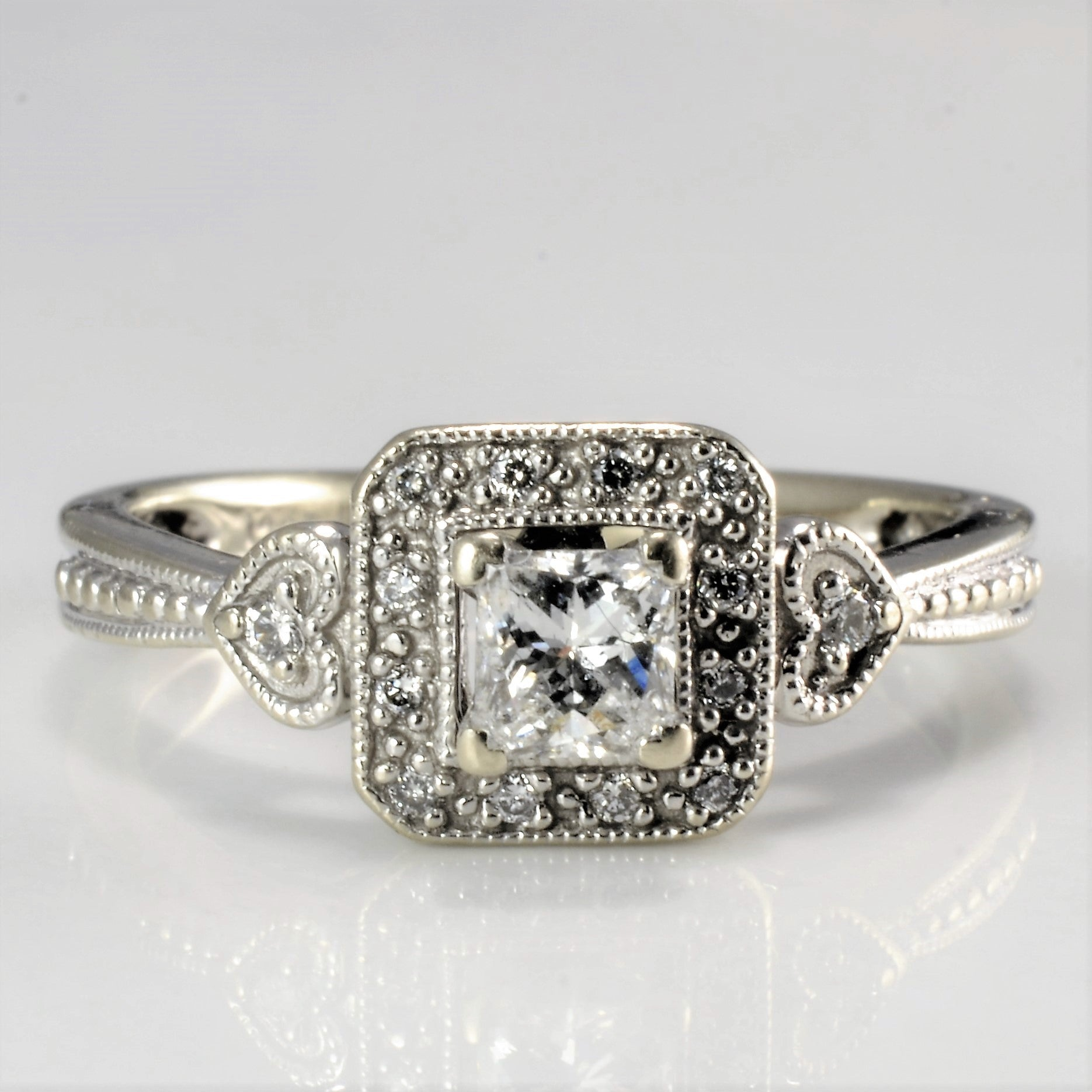 Milgrain Detailed Halo Diamond Engagement Ring | 0.35 ctw, SZ 6 |