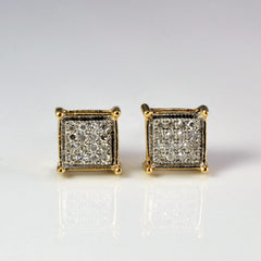 Grid Cluster Diamond Square Shape Stud Earrings | 0.08 ctw |