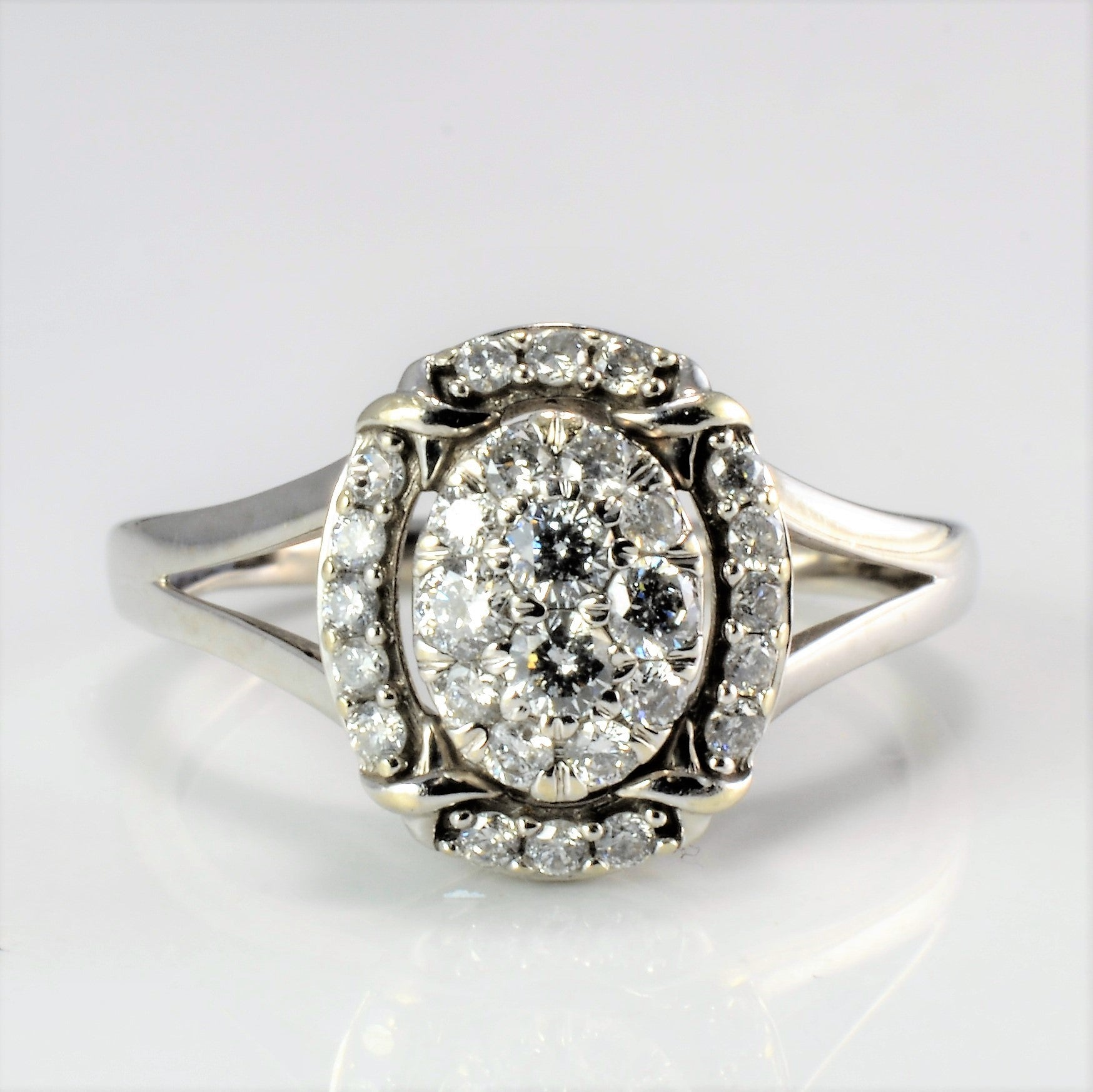 High Set Cluster Diamond Engagement Ring