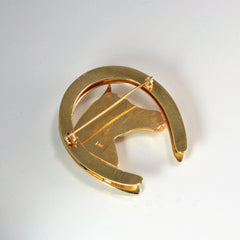 Multi- Gemstones Gold Horse Shoe Brooch | 0.02 ctw |