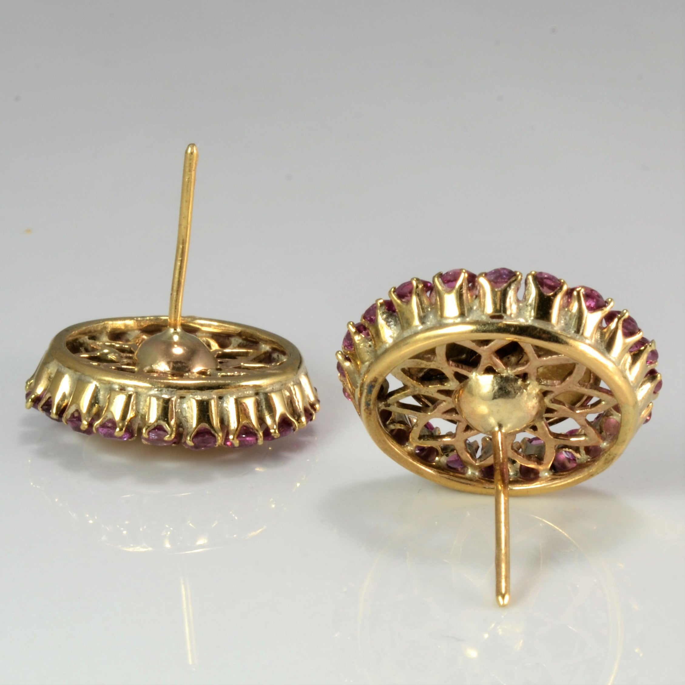 Art Nouveau Ruby & Diamond Dome Studs | 0.12 ctw |