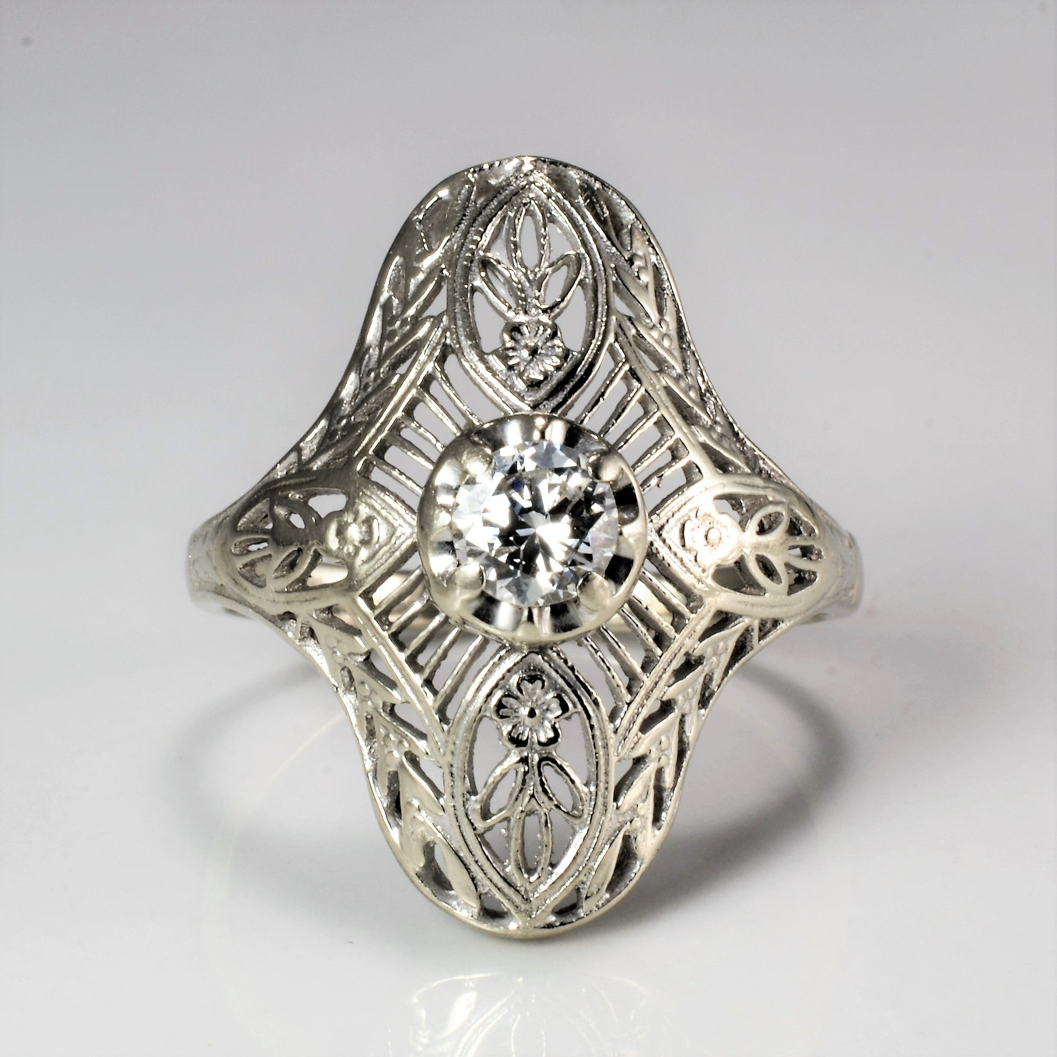 Filigree Solitaire Diamond Ladies Ring | 0.24 ct, SZ 5.75 |