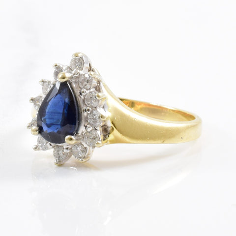 Pear Cut Sapphire & Diamond Halo Ring | 0.25ctw, 0.75ct | SZ 5.5 |