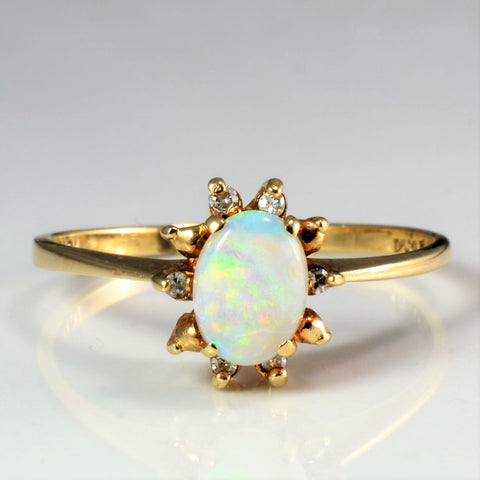 Opal & Diamond Cocktail Ring | 0.05 ctw, SZ 10 |