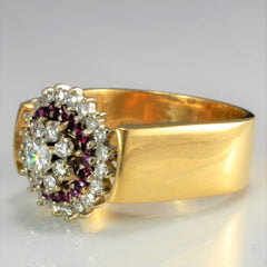 Cluster Diamond & Ruby Wide Ring | 0.68 ctw, SZ 10 |