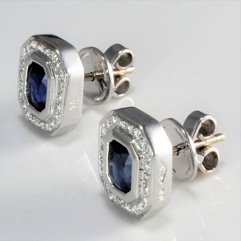 18K Gold Bezel Set Sapphire & Diamond Stud Earrings | 0.22 ctw |