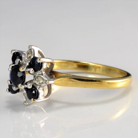 Floral Inspired Sapphire & Diamond Ring | 0.02 ctw, SZ 6 |